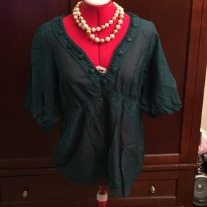 Woman's adorable sheet top, in Teal Green,  Size M